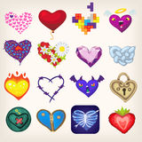 Uppsättning av hjärtor för valentindag Arkivfoton