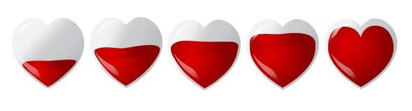 Uppsättning av hjärtor fulled med blod Fotografering för Bildbyråer