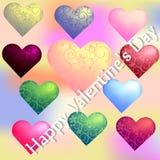 Uppsättning av hjärtor på valentin dag med en blommaprydnad på en suddig bakgrund vektor illustrationer