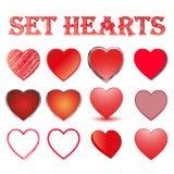 Uppsättning av hjärtor, vektorillustration Arkivfoto