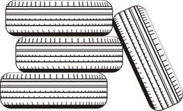 Uppsättning av hjul som visar gummihjul Arkivfoton