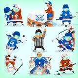 Uppsättning av hockeyspelare Arkivfoto