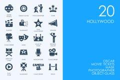 Uppsättning av Hollywood symboler stock illustrationer
