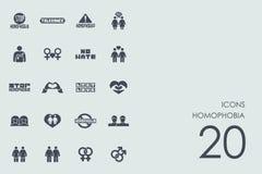 Uppsättning av homophobiasymboler stock illustrationer