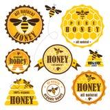 Uppsättning av honungetiketter Arkivfoto
