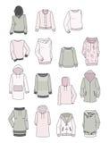 Uppsättning av hoodies för flickor Arkivbild