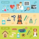 Uppsättning av horisontalbaner älsklings- veterinär- för omsorg Veterinärklinik ansa Plan design vektor royaltyfri illustrationer