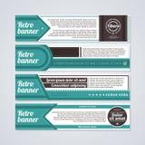 Uppsättning av 4 horisontalretro baner Användbart för rengöringsdukdesign och advertizing Royaltyfria Foton