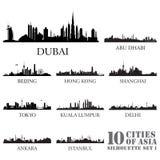 Uppsättning av horisontstadskonturer 10 städer av Asien #1 stock illustrationer