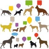 Uppsättning av hundkapplöpning med anförandeballonger Royaltyfri Foto