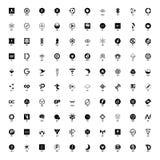 Uppsättning av hundra cryptocurrencylogoer, del 2 stock illustrationer