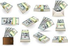 Uppsättning av hundra dollar sedlar Arkivbild