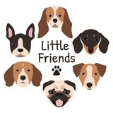 Uppsättning av 6 hundsymboler som presenterar tysta ned royaltyfri illustrationer