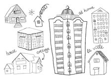 Uppsättning av hus Arkivbild