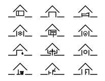 Uppsättning av huskonturn i olika inställningar royaltyfri illustrationer