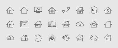 Uppsättning av husvektorlinjen symboler Innehåller symboler av avslutningen av avtalet, hjärta, en droppe av vatten, brand, penga vektor illustrationer