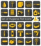Uppsättning av hygiensymboler Arkivbilder