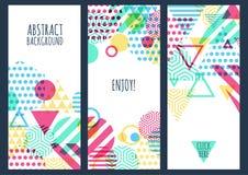 Uppsättning av idérik banerbakgrund för tre vektor med flerfärgat G Royaltyfri Foto