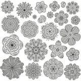 Uppsättning av idérika blommor för din design Romantiska blom- modeller Svartvita färger Arkivbilder