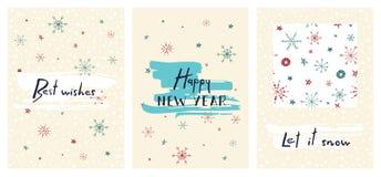 Uppsättning av idérika feriekort med hand dragen bokstäver lyckligt nytt år Med förälskelse låt snow Royaltyfri Fotografi