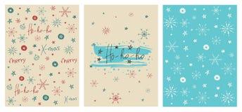 Uppsättning av idérika julkort med hand dragen bokstäver Ho-ho-ho Royaltyfria Bilder