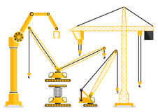 Uppsättning av illu för vektor för design för lägenhet för kran för konstruktionsmaskinguling Royaltyfria Foton