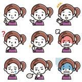 Uppsättning av illustrationen för ansiktsbehandling för flicka` s royaltyfri illustrationer