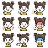 Uppsättning av illustrationen för ansiktsbehandling för flicka` s stock illustrationer