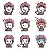 Uppsättning av illustrationen för ansiktsbehandling för flicka` s Arabiskt tecken för flicka` s vektor illustrationer