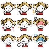 Uppsättning av illustrationen för ansiktsbehandling för flicka` s Blont pojketecken stock illustrationer