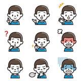 Uppsättning av illustrationen för ansiktsbehandling för pojke` s vektor illustrationer