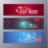 Uppsättning av illustrationen för julbanervektor vektor illustrationer