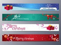 Uppsättning av illustrationen för julbanervektor royaltyfri illustrationer