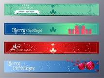 Uppsättning av illustrationen för julbanervektor stock illustrationer