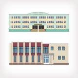 Uppsättning av illustrationen för två vektor av byggnader Arkivbilder
