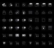Uppsättning av illustrationen för vektor för symboler för översiktsslaglängdshopping Arkivfoto