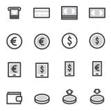 Uppsättning av illustrationen för vektor för symboler för översiktsslaglängdshopping Arkivbilder