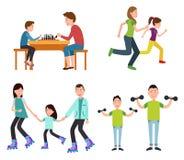 Uppsättning av illustrationen för vektor för familjbildfärg stock illustrationer
