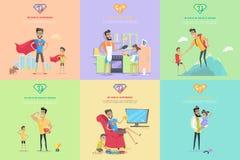 Uppsättning av illustrationer för faderskaptemabegrepp Arkivbilder