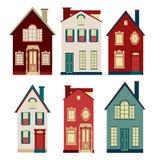 Uppsättning av illustrationer från gamla hus Arkivfoton