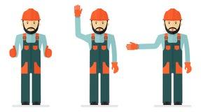 Uppsättning av illustrationer med arbetare i overaller royaltyfri illustrationer