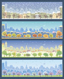 Uppsättning av illustrationer med stads- landskap Royaltyfri Foto