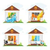 Uppsättning av illustrationer på temat av egenskapsförsäkring mot olyckor Fotografering för Bildbyråer