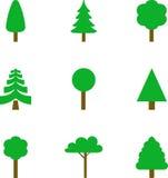 Uppsättning av illustrerade träd Arkivbild