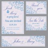 Uppsättning av inbjudan till bröllopet Arkivfoto