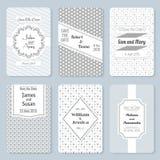 Uppsättning av inbjudanmallar Elegant kort för tappningbröllopdag royaltyfri illustrationer