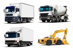 Uppsättning av industriella lastbilar och medel Royaltyfria Foton