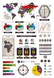 Uppsättning av infographic beståndsdelar Arkivbild