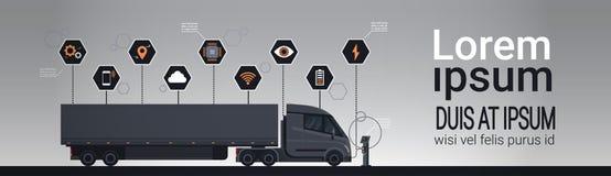 Uppsättning av Infographic beståndsdelar med den moderna halva lastbilsläpet som laddar på eklektiska den horisontaluppladdaresta royaltyfri illustrationer