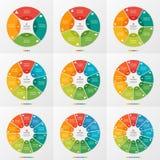 Uppsättning av 4-12 infographic mallar för cirkeldiagram arkivfoto